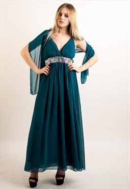 Strap Chiffon Maxi Dress with Sequin Design & Scarf (TURQ)