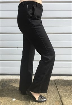 Womens Vintage armani trousers black wool straight leg pants