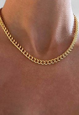 "14"" 8mm Cuban Curb Necklace Chain - Gold"