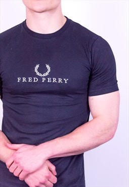 Vintage Fred Perry Embroidery T-Shirt in Black
