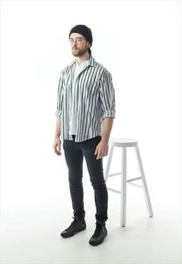 Green Striped Button Up / Nautical Mens Shirt