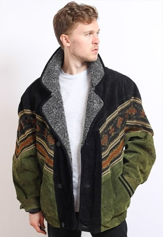 VINTAGE AZTEC FLEECE LINED JACKET
