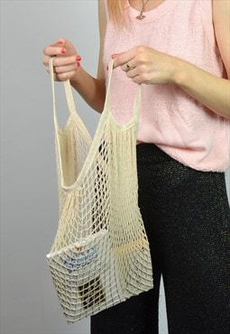 Retro Beige String Net Reusable & Sustainable Tote Bag
