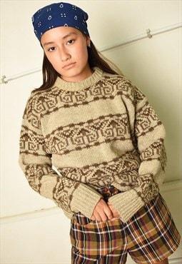70s retro jazzy woollen Paris chic chunky knit jumper