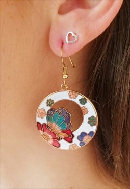 90's vintage cloisonne butterfly floral enamel hoop earrings