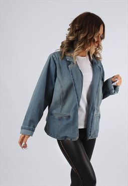 Denim Jacket Blazer Style Oversized Fitted UK 18 - 20 (K92H)