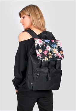Velvet floral print laptop backpack
