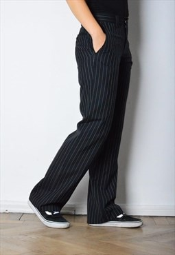 Vintage 90s Black Pants with White Striped