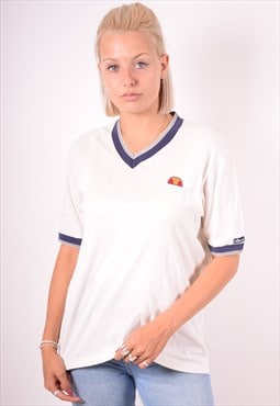 Ellesse Womens Vintage T-Shirt Top Large White 90s