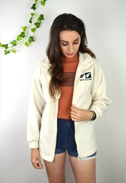 90s Vintage Cream New Zealand Full Zip Fleece Jacket