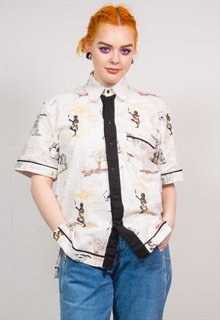 VINTAGE 90'S WHITE SAFARI PRINT SHORT SLEEVE SHIRT
