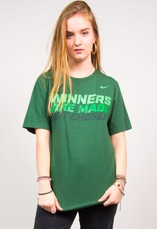 NIKE VINTAGE 90'S GREEN SLOGAN PRINT SPORTS T-SHIRT