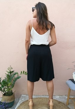 VIntage 90s Minimal Cotton Mix Black Culottes Shorts