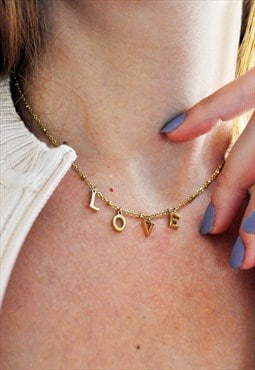 Delicate Love Charm Necklace Gold Plated Stainless Steel