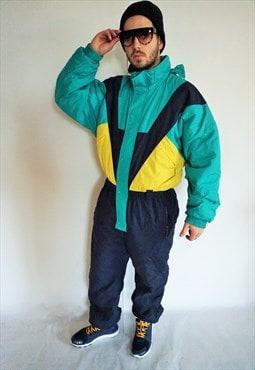 Vintage Onepiece Skiing Ski Suit Overall Jumpsuit Jacket