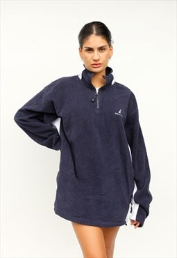 Vintage Nautica quarter zip fleece, navy blue/white