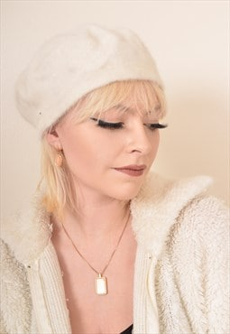 Vintage Wool Beret Beanie Hat in Cream
