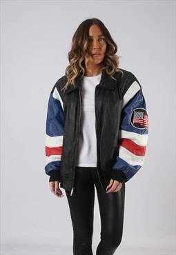Leather Bomber Jacket USA Oversized MICHAEL HOBAN UK 16 GKCO