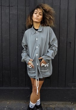 Loose fit oversize drop shoulder clear plastic shirt jacket