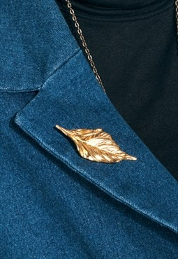 Leaf brooch - 90s vintage golden pin