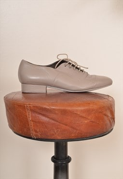 Vintage 90s Lace up Leather Shoes Cream UK 6