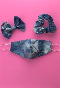 Tie dye denim face covering  set with scrunchie or hair bow