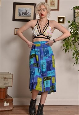 Vintage Abstract Patterned Midi Skirt in Blue