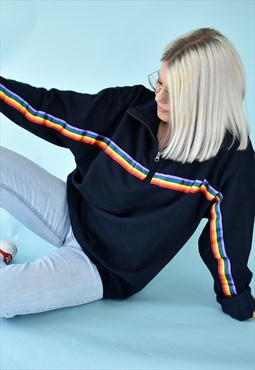 G&G Unisex Navy 1/4 Zip Rainbow Ribbon Sweat