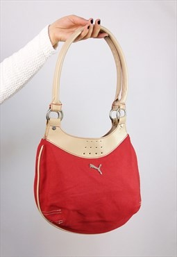 Vintage 90's Y2k PUMA Shoulder Bag Red Canvas Sport Purse