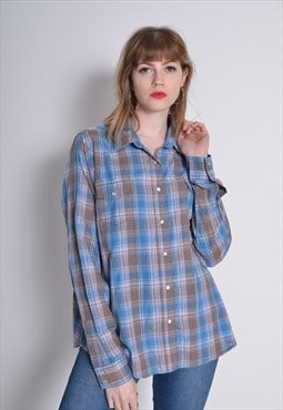 Vintage Wrangler Long Sleeve Western Check Shirt Blue