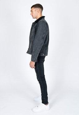 Liquor n Poker - Borg collar denim jacket in washed black