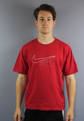 VINTAGE NIKE T SHIRT IN RED WITH PRINTED SWOOSH LOGO. SIZE S
