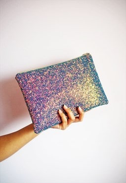 Purple Rainbow Glitter Clutch Bag - Night Sky