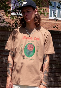 Organic Brown T-Shirt with Rose Print