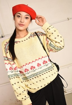 90's retro Folk knit festival garm jumper top