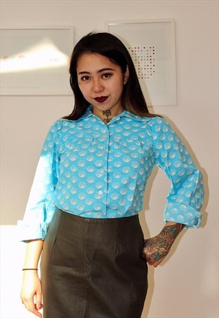 60S LONG SLEEVES BLUE COTTON SHIRT
