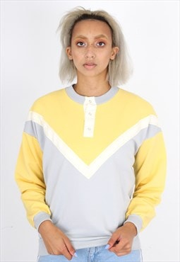 Vintage Yellow and Grey  1/4 button sweatshirts