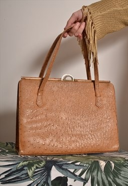 Vintage 70s Textured Handbag in Tan Brown Leather