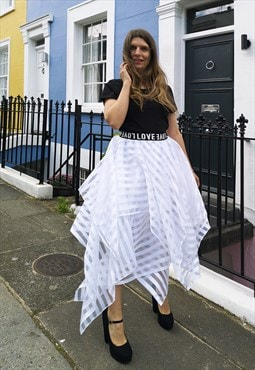 White Stripes Organza Skirt with Elastic Band