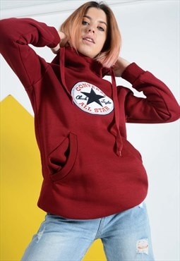 Converse Hoodie with logo in maroon.