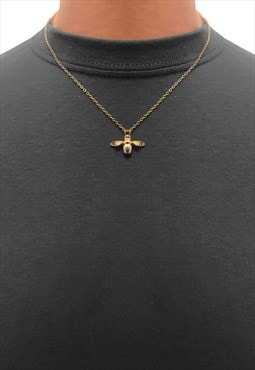 """22"""" Manchester Bee Insect Pendant Necklace Chain - Gold"""