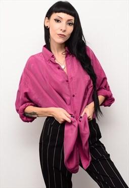 Vintage 90's Genuine Silk Raspberry Red Oversized Shirt