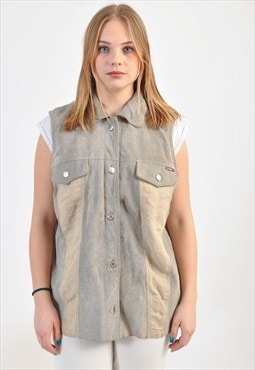 Vintage suede leather vest