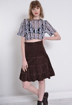 Vintage Corduroy Cord Skirt Brown
