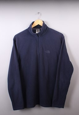 Mens Vintage The North Face Navy Quarter Zip Fleece Jumper