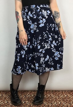 Berkertex Grunge Floral Midi Skirt In Blue