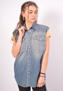 Vintage Tommy Hilfiger Denim Shirt Sleeveless Blue