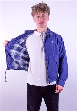 Vintage Ralph Lauren Check Lined Harrington Jacket in Blue