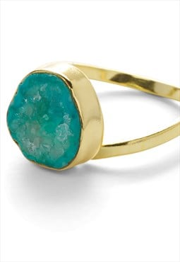 Aqua green crystal adjustable 'pinky ring'