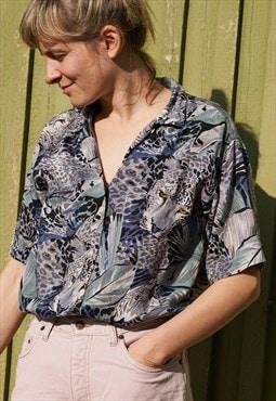 90's Vintage Multi Pattern Short Sleeve Shirt Jungle Safari